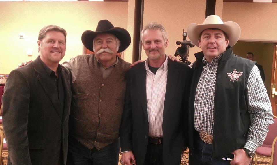 scott and moe with Bob Higly of tbn and Michael williams western writer bob is president and Michael is vice president of the Dallas chapter of Christian media